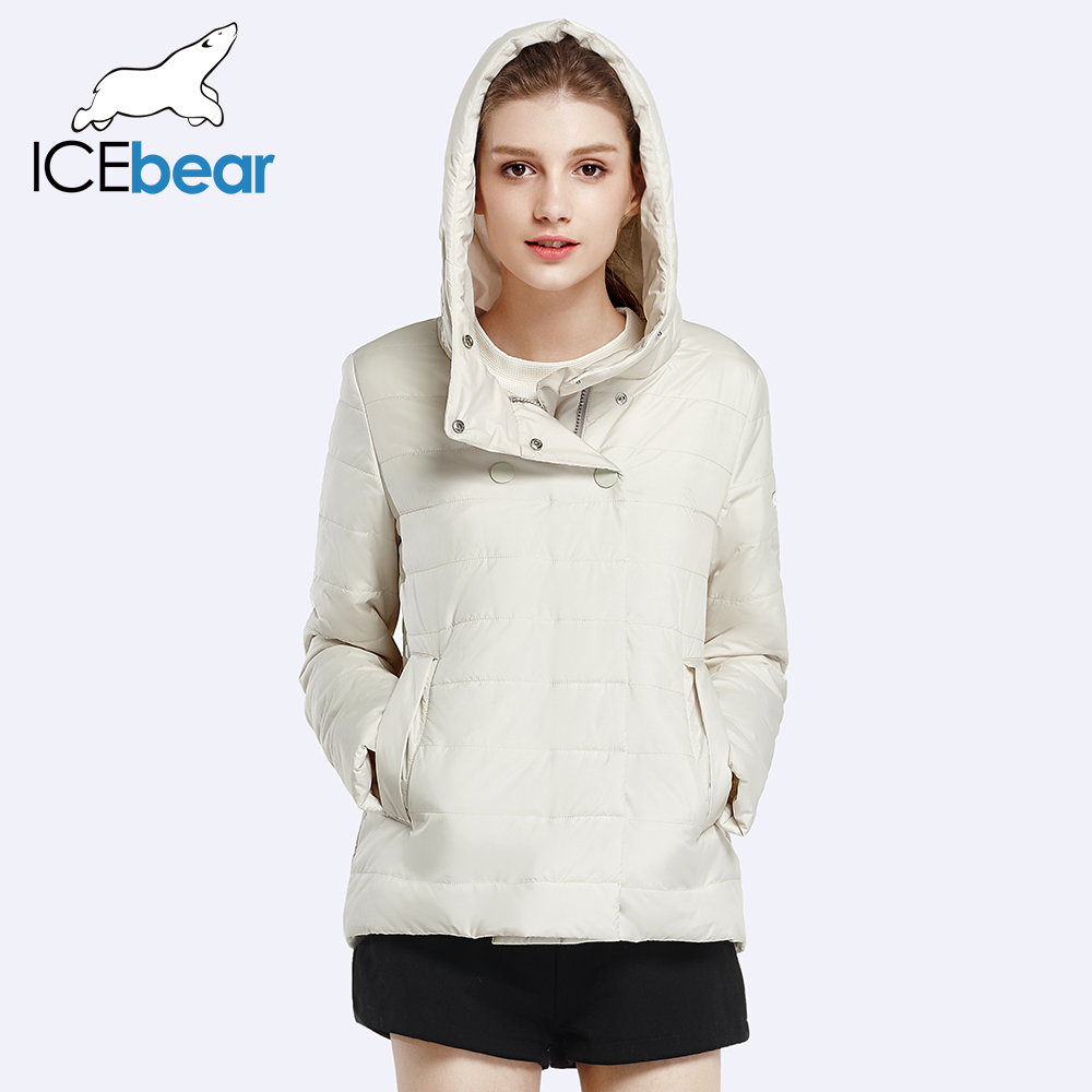 ICEbear 2017 Double Breasted Cotton Padded Fashion Warm Parka Outerwear Autumn Spring Short Womens Coats And Jackets 17G2117D(China (Mainland))