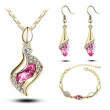 Free Shippingn 18K Gold Plated Austrian Crystal 7 colors Fashion Jewelry Sets Wedding Pendant Necklace earrings bracelet gift