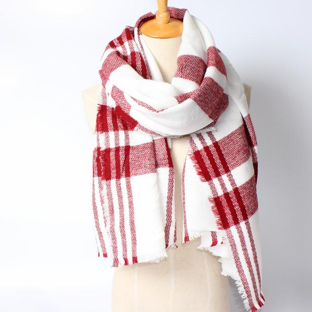 2016 новое поступление зима мода женщин евро сочетание цветов лоскутная полосатый толстые теплые кашемировые длинный шарф 2 цвета шаль