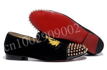 Hot sale Men Black/Red Velvet Intern Flat Loafers free shipping discount fashion Men red sole sticker casual party shoes(China (Mainland))