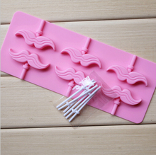 New  Moustache Silicone Chocolate One Piece Lollipop Mold Candy Wedding Decoration Kitchen Bakeware Cooking Fondant Cake Tools(China (Mainland))