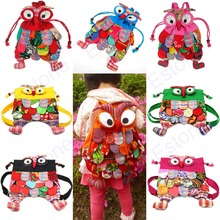 Free shipping Kid Children Owl Ethnic Colorful Stitch Backpack Schoolbag Book Bag Preschool(China (Mainland))