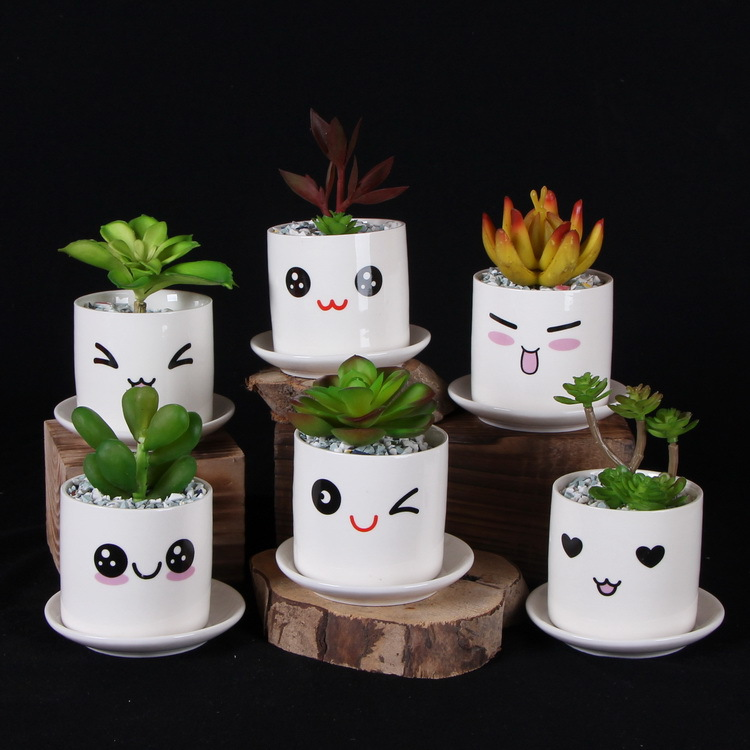Cute mini porcelain flower pot desk succulents vase for Art and craft pot decoration