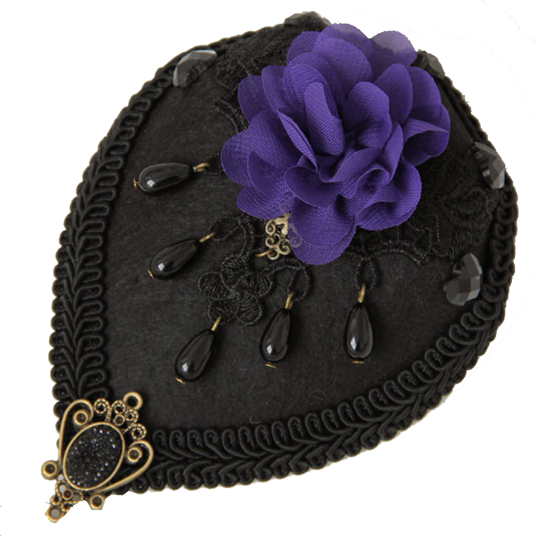 New Arrival Sexy Flower Teardrop Mini Pillbox Hat Fascinator Lace Hair Clip Purple hair accessories free shipping(China (Mainland))