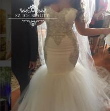 Plus Size Silver Rhinestone Sweetheart Wedding Dress Long Puffy Mermaid Vestido De Noiva 2017 Women Dresses Bridal Gowns(China (Mainland))