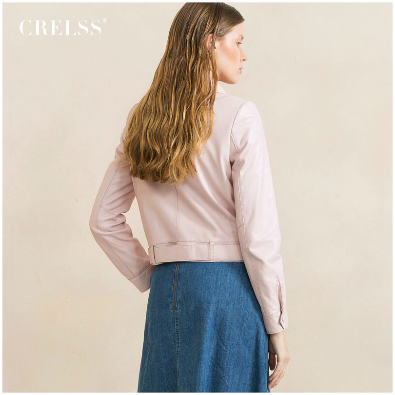 2015 Autumn New Women s Genuine Leather Jacket Sheepskin Coat High Quality Jackets Blue Pink Short