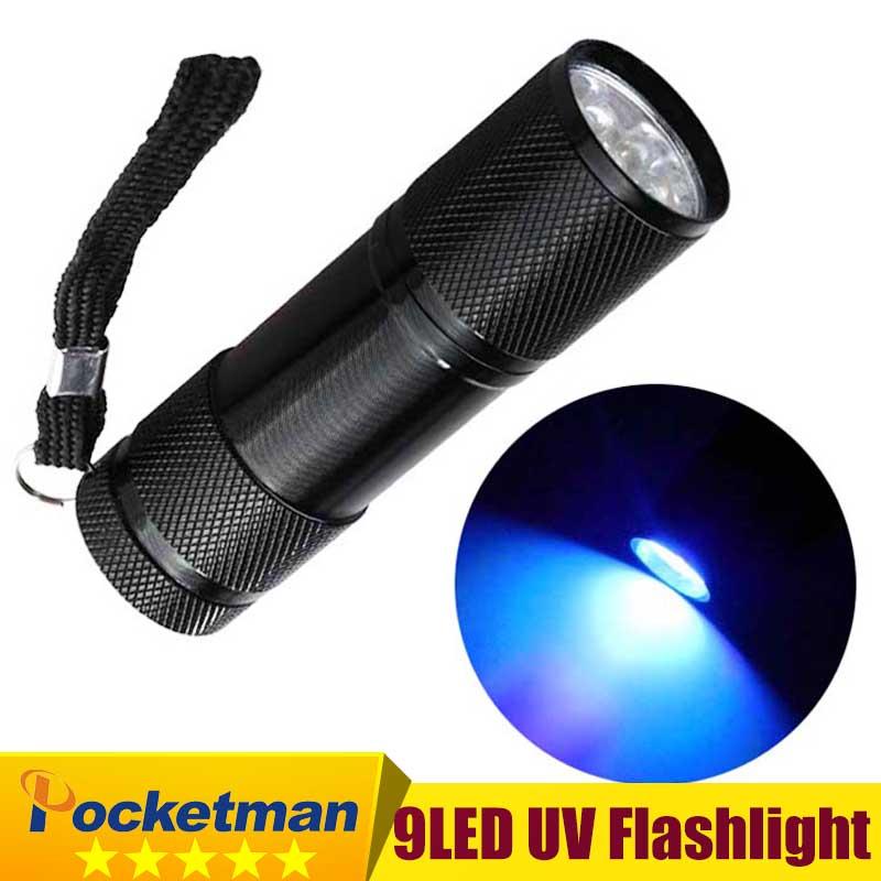 Mini Aluminum UV Ultra Violet 9LED Flashlight Blacklight Invisible Ink Marker Detection Torch Light 3AAA zk92(China (Mainland))