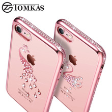 Buy Silicone Cover Case iPhone 7 / 7 Plus Coque Bling Rhinestone Swan Peacock TPU Phone Back Cover iPhone 7 Cases TOMKAS for $4.98 in AliExpress store