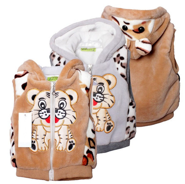 Free Shipping 2013 The Spring Autumn Winter Kids' Boy Girl Children Outwear Waistcoat Kids Tiger Fur Vest Baby Clothing 3pcs/lot