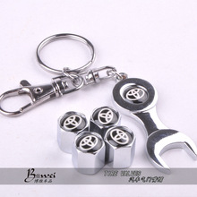 New Hot Sale Car Wheel Tire Valve Caps with Mini Wrench & Keychain for Toyota (4-Piece/Pack)(China (Mainland))