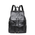 Women Solid Color Casual Backpack 2016 Trendy Fashion Genuine Leather All match Soft Bag Top Layer