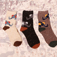 Free Shipping 2015 Japan and South Korea new winter cartoon elephant fox retro snowflake socks, one pair of wool animal socks