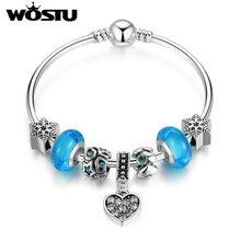 WOSTU Brand New Blue Winter Night Charms Bangle For Women Original Silver DIY Beads Jewelry Fit Pandora Bracelet Gift(China (Mainland))