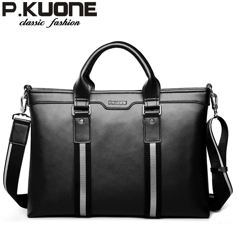 P.KUONE 2016 Famous Brand 100% Genuine Leather High Quality Laptop Bags New Fashion Casual Travel Handbag Business Men Briefcase(China (Mainland))