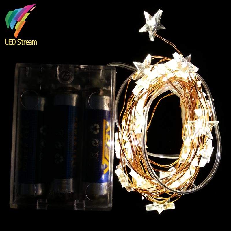STAR Shaped Theme 3AA Battery Powered 3M 30 LED Copper String Fairy Lights Christmas Holiday Lighting(China (Mainland))