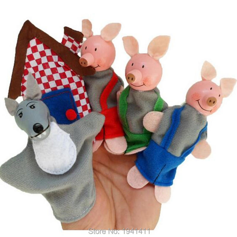 5pcs/set three pig,wolf,house Cartoon Happy Family Fun Animal Finger Hand Puppet Kids learning & education Toys Gifts(China (Mainland))