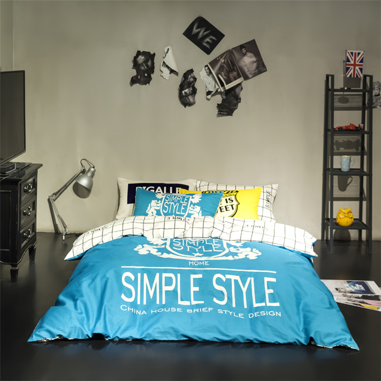 Smiple style bedding set white striped bed linen blue fashion quilt cover queen bed sheet bedspreads cotton bedclothes bed set(China (Mainland))