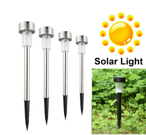 free shipping 10pcs/lot Stainless steel Solar lawn light for garden drcorative 100% solar power Outdoor solar lamp luminaria(China (Mainland))