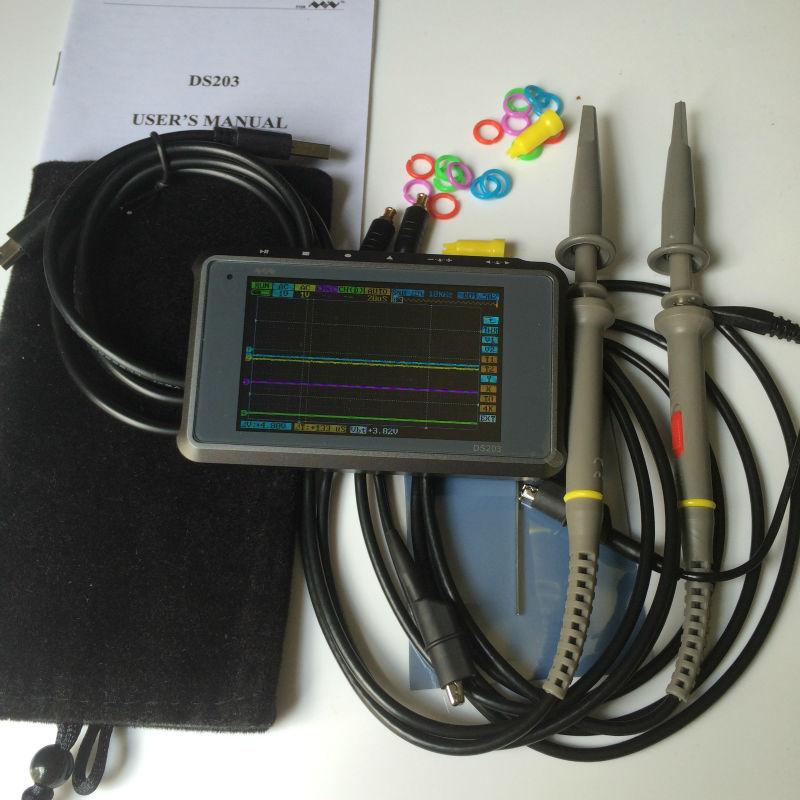 Купить Мини DSO203 DS203 цифровой Осциллограф ARM Nano портативный 8 МГц пропускная способность 4 Каналов arm Cortex M3 ПРОЦЕССОРА с Алюминия Метр случае