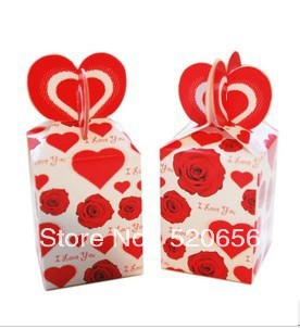 Free shipping rose and heart I Love You wedding favors candy boxes gift box valentine chocolate box party supplies 100pc/lot(China (Mainland))