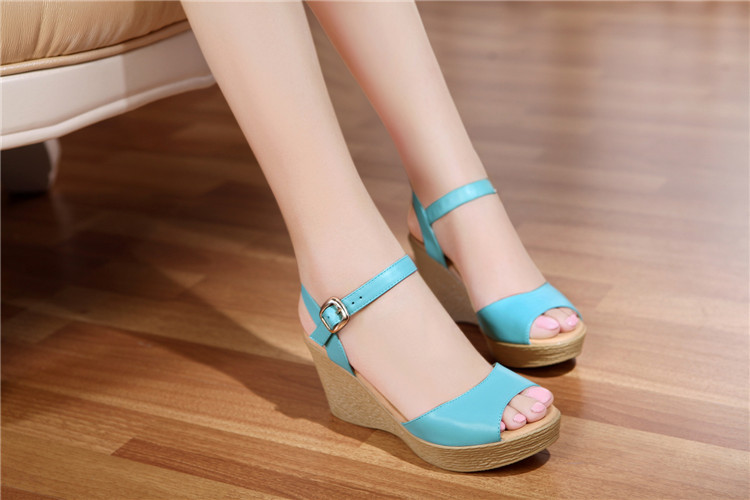 2015 summer new slope with high-heeled leather shoes genuine heavy-bottomed waterproof sandals casual female child 34-40<br><br>Aliexpress