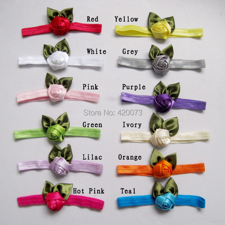 Free Shipping 12 Pcs/lot Fashion Infant Rose Headband,Baby Flower Elastic Headbands,Cute Hairband For Girls(China (Mainland))