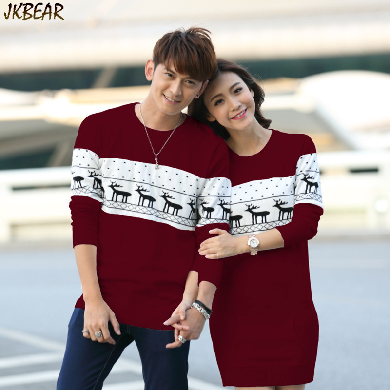 new arriving matching christmas sweaters for couples plus size cute reindeer snowflake pattern pullovers with