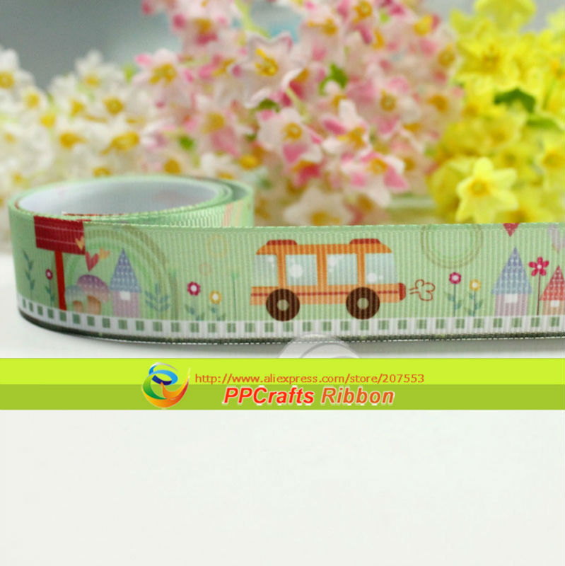 """PPCrafts Top quality printing Spring Ribbon 7/8"""" 22mm lovely Bus Printed Green Grosgrain Ribbon 50yds/roll free shipping(China (Mainland))"""