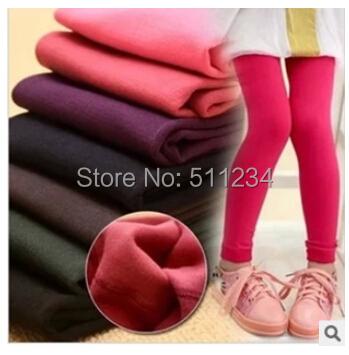 1PC New 2015 Kids autumn winter Solid Leggings Inside Plus Velvet Fashion Children Pants Warm Girl Leggings(China (Mainland))