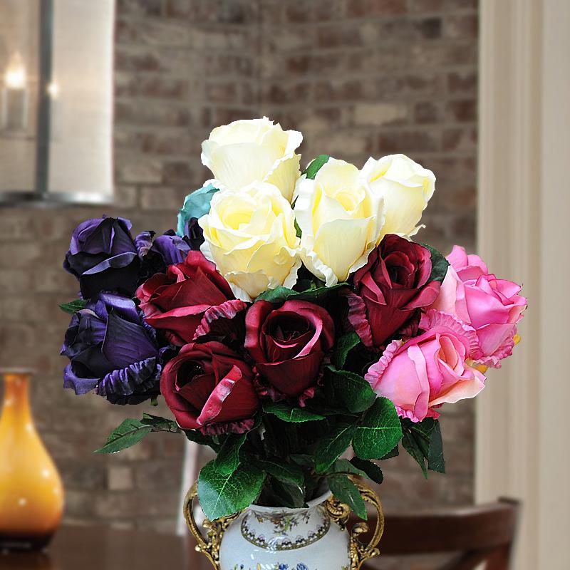 US housing estates retro generous springtime in Paris rose high simulation flower silk cloth simulation took home decorations<br><br>Aliexpress
