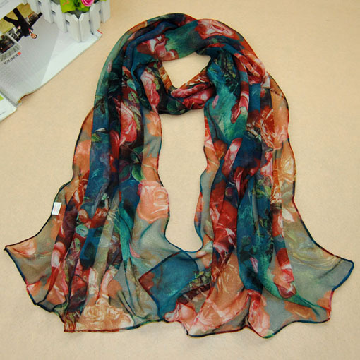 Korean fashion colorful floral flowers roses Chiffon scarf lady Tassel Wrap shawl clothing for women 2014 PD25(China (Mainland))