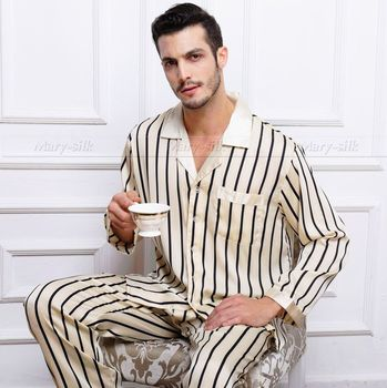 Mens Silk Satin Pajamas Set Pajama Pyjamas PJS Set Sleepwear Loungewear S,M,L,XL,2XL ,3XL Pants Strip Plus