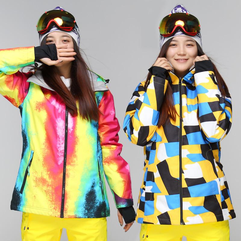 2015 womens waterproof breathable bright curves colorful ski jacket ladies ski suit female Korean thickened snowboard waterproof(China (Mainland))