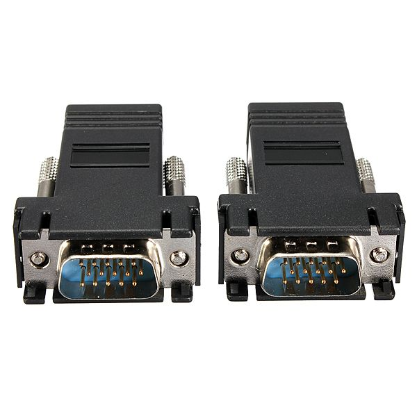 Wholesale New 2Pcs Extender VGA Male to LAN RJ45 CAT5 CAT6 Network Cable Female Adapter Best Promotion(China (Mainland))