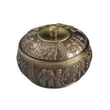 Ever Perfect  Zinc Alloy Metal Round  Cigarette Ash Tray Ashtray With Lid Cover For Table Decoration Embossed Bronze 12 cm1090(China (Mainland))