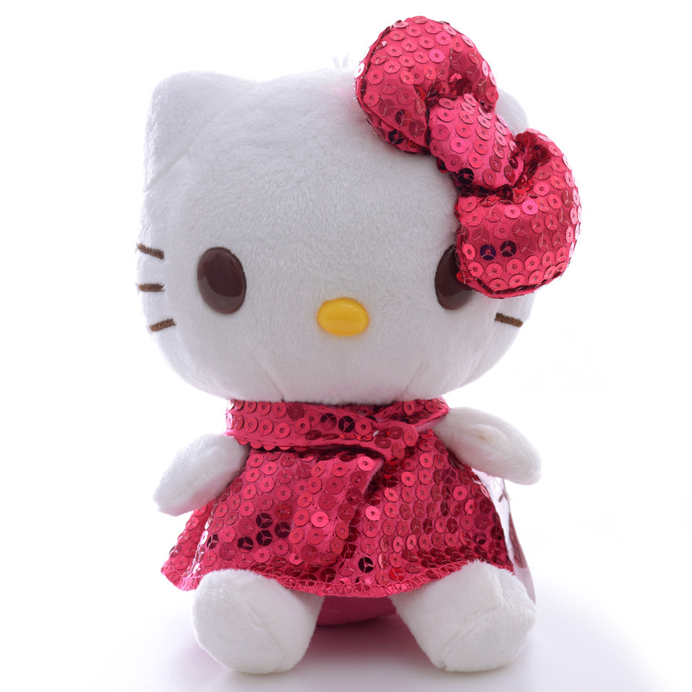 Fashion Hello Kitty Dressed Glitter Skirt Suit Plush Metellic Sequins Dress Toy Home Decorative Doll 7
