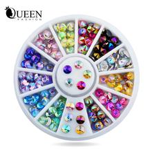 New 96pcs/set 4mm Colorful Sharp Crystal AB 3d Nail Rhinestone Wheel Shiny Glitter Nail Art Tips Decoration Tools