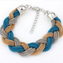 Hot Sell New Fashion Europe and America Metal Chain Lady Wild Qualities Exquisite Braided Rope Bracelets Wholesale B-164(China (Mainland))