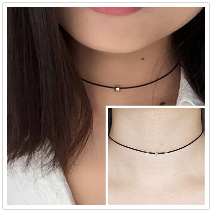 Lowest price !! Hot New women black leather cord necklace Maxi statement necklace Chokers Necklace for women 2017 Jewelry(China (Mainland))