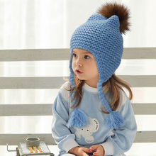 All For Children Clothes Accessories Kids Casual Bomber Baby Hat Warm Knitted Brand Design Factory Made Cheap Cap With FurPom(China (Mainland))