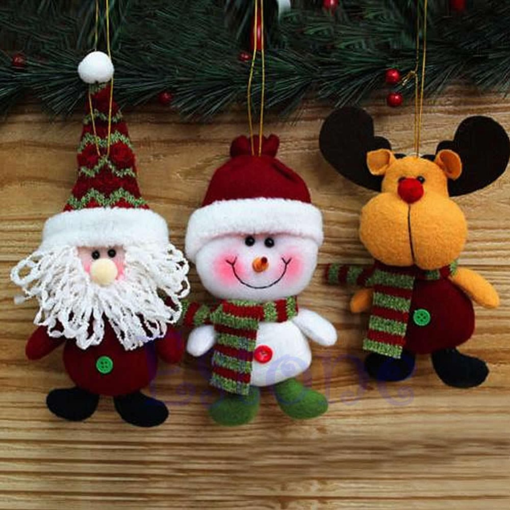 Free Shipping 1pc Christmas Tree Fabric Santa Snowman Reindeer Ornaments Xmas Decorations Decros(China (Mainland))