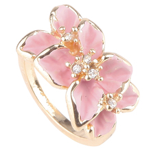 2015 Women Enamel Flower Ring Crystal Gold Alloy Size 7 Nickel-Free Cute Rings #70287(China (Mainland))