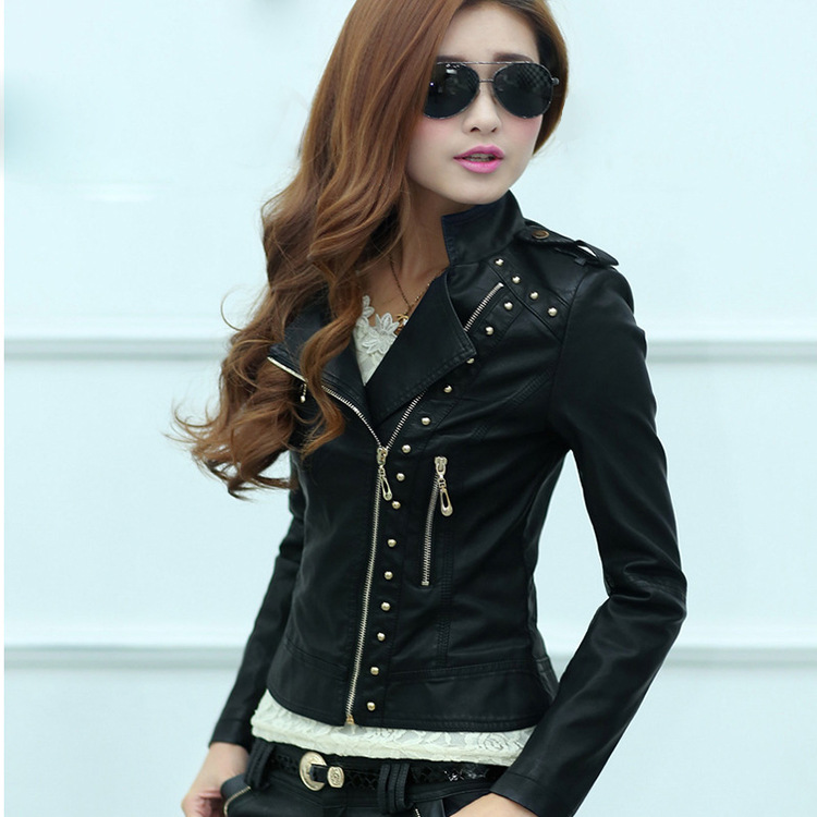 In The Spring Of 2015 New High-grade Leather Leather Ladies Slim Female Leather Jacket Lady Lady Leather Coat(China (Mainland))