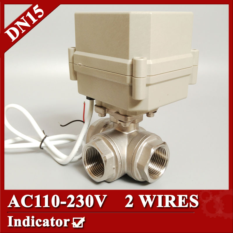 "Фотография 1/2"" DN15 T port 3 way Electric motorized valve 2 wires(CR2 02), AC110V to 230V Mini electric valve with spring return"