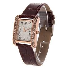 New Brown PU Leather Band Ladies Women Watch Alloy Square Diamante Face Quartz WristWatch