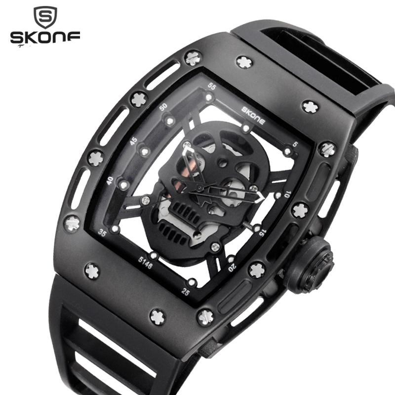 2017 Skone Hollow Silicone Watch Male Unique Design Skull Watches Men Luxury Brand Sports Quartz Wrist Watch relogio masculino(China (Mainland))