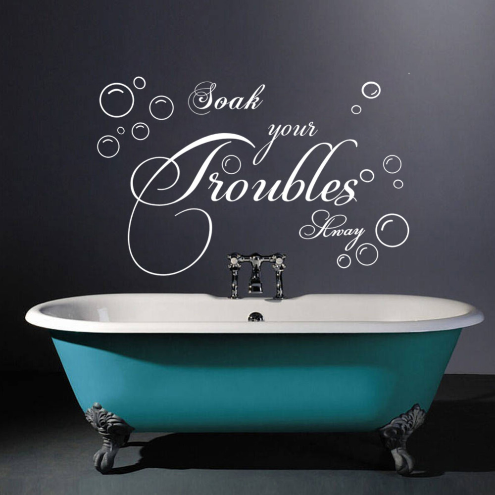 English bubble bath soak bathroom wash room home decor for Deco salle de bain stickers