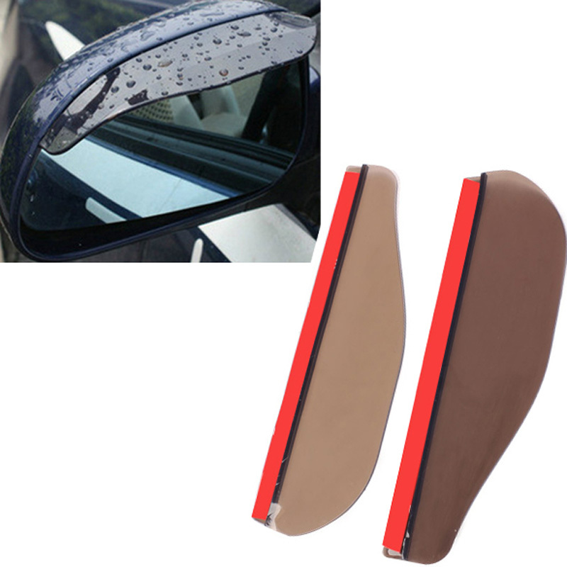 Promotional 2PCS Car Rear View Mirror Flexible Anti Rain Guard Shade Brown Auto Weatherstrip Wholesale Good Quality