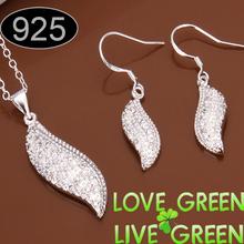 Promotions woman Beautiful fashion Elegant silver platedjewelry leaf pendant crystal rhinestone necklace earring set 461(China (Mainland))