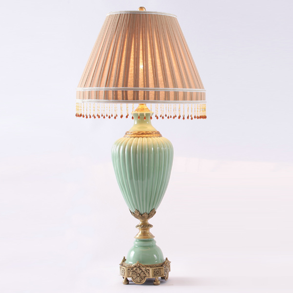 fresh light green glazed vertical stripes porcelain and antique golden copper table lamp(China (Mainland))